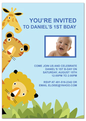 Animal Zoo Party 1st Birthday Invitation Samples