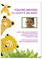 Giraffe Tiger Lion Animals Birthday Party Invitations