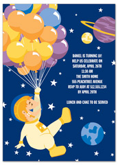 Stars Planets Spaceship Birthday Party Invitations