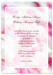 Pink White Rose Background Blank Wedding Invitation