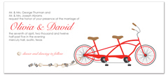 Unique Bicycle Theme Blank Wedding Invitation