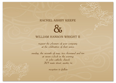 Swirly Beige Cream Brown Microsoft Wedding Invite