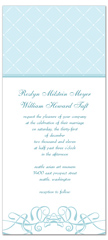 Baby Blue White Swirly Microsoft Word Wedding Invitation