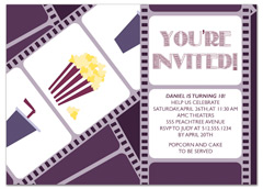 Movie Popcorn Candy Personalized Birthday Invitation