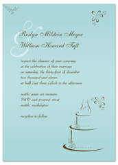 Blue Cake Background Personalized Wedding Invitation