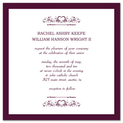 Purple White Marriage Printable Wedding Invitation