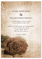 Vintage Rose Background Printable Wedding Invitation
