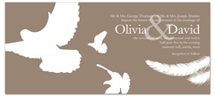 Brown White Doves Wedding Invitation Example