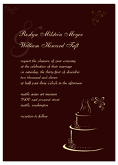 Deep Red Cakes Pattern Wedding Invitation Ideas